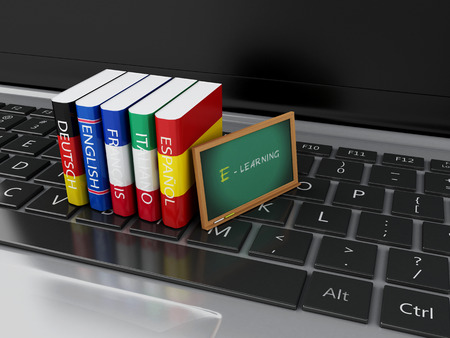 dictionaries: 3d illustration. Dictionaries and blackboard on computer keyboard. E-learning. Languages learn and translate, education concept.