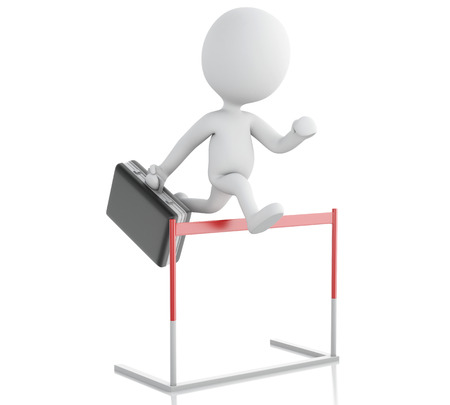 businessman jumping: 3d renderer illustration. White people hopping over hurdle race. Business concept. Isolated white background. Stock Photo