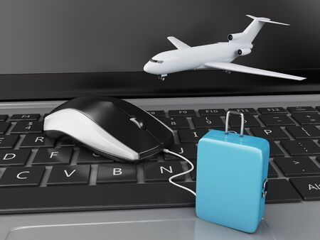 e ticket: 3d renderer illustration. Travel suitcase and airplane on computer keyboard. Online booking flight or travel concept.