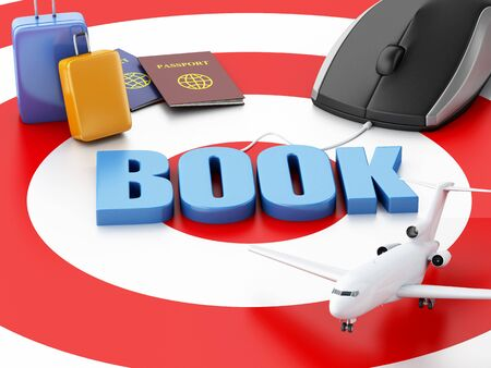 e ticket: 3d renderer illustration. Online booking concept. Computer mouse, airplane and travel suitcase on target.