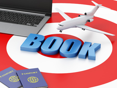 e ticket: 3d renderer illustration. Online booking concept. Laptop pc, passport and airplane on target.