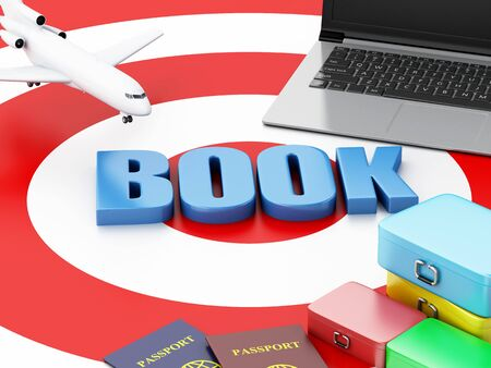 e ticket: 3d renderer illustration. Online booking concept. Laptop pc, airplane and travel suitcase on target. Stock Photo