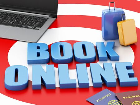 e ticket: 3d renderer illustration. Online booking concept. Laptop pc, passport and travel suitcase on target. Stock Photo