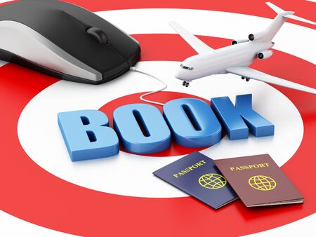 e ticket: 3d renderer illustration. Online booking concept. Computer mouse and airplane on target. Stock Photo