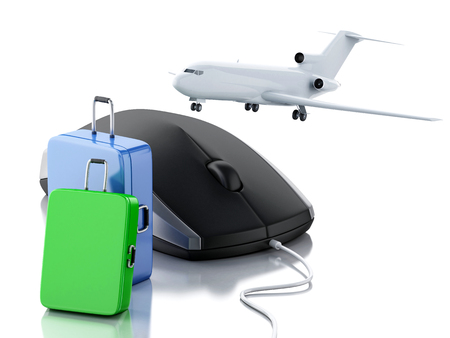 e ticket: 3d illustration. Airplane, travel suitcase and computer mouse. Online booking flight or travel concept. Isolated white background