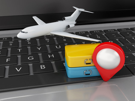 e ticket: 3d renderer illustration. Travel suitcase and airplane on computer keyboard. Travel concept Stock Photo