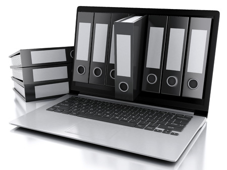 3 d イラスト。アーカイブのコンセプトです。ノート パソコンと孤立した白い背景上のファイル 写真素材