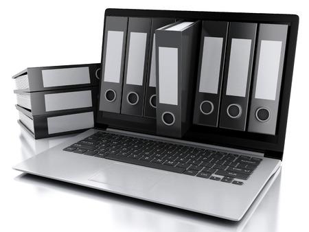 Ilustración 3D. Concepto de archivo. Ordenador portátil y archivos en el fondo blanco aislado