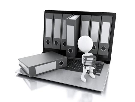 3D-afbeelding. Witte mensen met kantoor ringbanden. Archive concept. Laptop en bestanden op geïsoleerde witte achtergrond