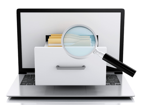 image of 3d renderer illustration. Laptop and files. Data storage. Isolated white background