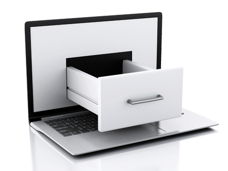 file cabinet: image of 3d renderer illustration. Laptop with File cabinet. Data storage. Isolated white background