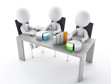 stockholder: 3d renderer image. Business people in a Office meeting room. Business partners on white background Stock Photo