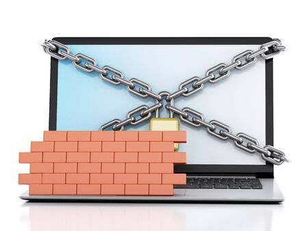 lock and chain: 3d renderer image. Laptop with lock, chain and brick wall. Firewall concept. Isolated white background Stock Photo