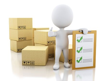 earth moving: 3d illustration. White people with clipboard checklist and cardboard boxes. Package delivery concept. Isolated white background