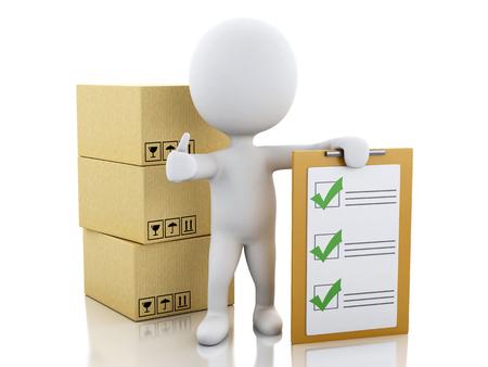 3 d イラスト。クリップボードのチェックリストや段ボール箱の白人。パッケージ配信という概念。孤立した白い背景
