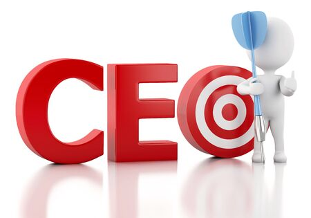 ceo: 3d renderer image. White people with CEO word and red target. Business concept. Isolated white background Stock Photo