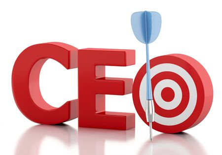 ceo: 3d renderer image. CEO word with red target. Business concept. Isolated white background Stock Photo
