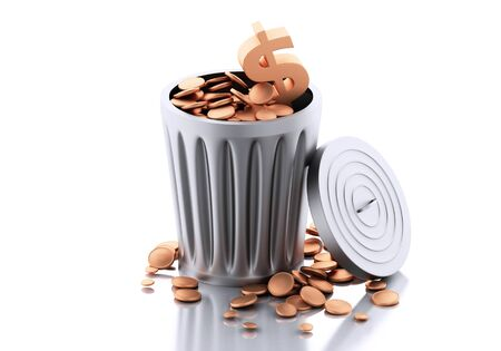 inflation basket: 3d renderer illustration. Trash bin with gold coins. Isolated on white background.