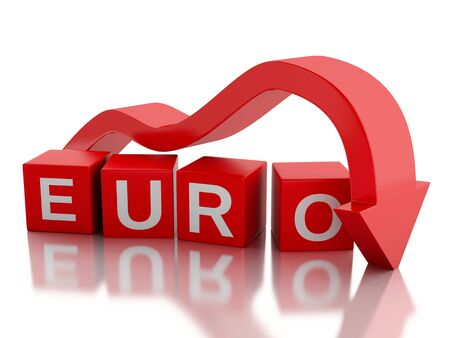stock price losses: 3d renderer illustration. Red arrow falling value of the Euro. Money concept. Isolated white background