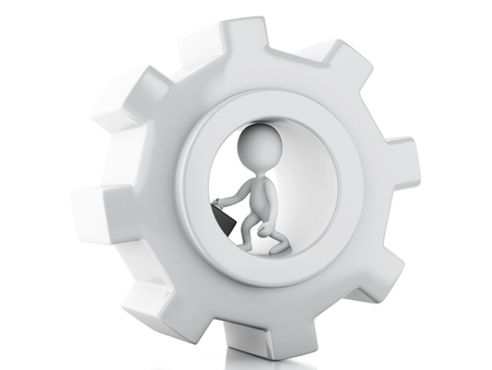 3d image. White business people and gear mechanism. Business concept. Isolated white background Stock Photo