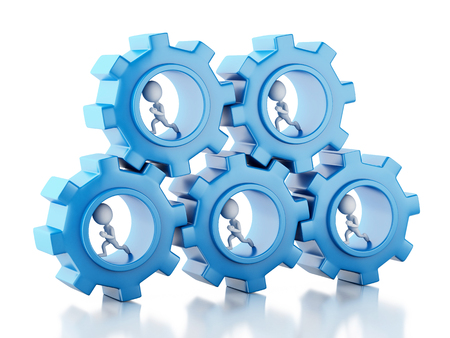 small flock: 3d image. White business people with a gear mechanism. Team concept. Isolated white background