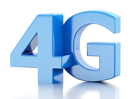 wireless icon: 3d renderer image. 4G LTE wireless sign. Mobile telecommunication concept. Isolated white background