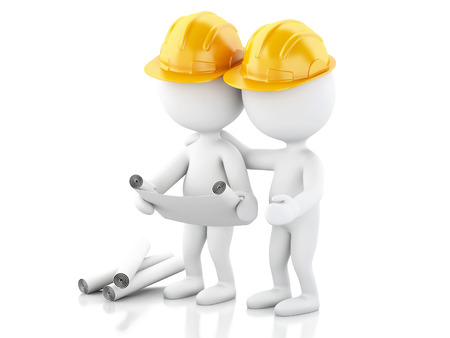 drawings image: 3d renderer image. Architect people with helmet and drawings. Construction concept. Isolated white background