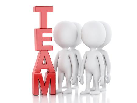 3d renderer. uomini d'affari bianchi. concetto di squadra. Isolato sfondo bianco Archivio Fotografico