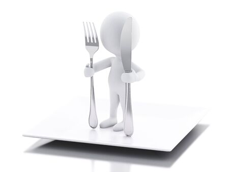 small flock: 3d renderer illustration. White people Chef with fork and knife. Isolated white background Stock Photo
