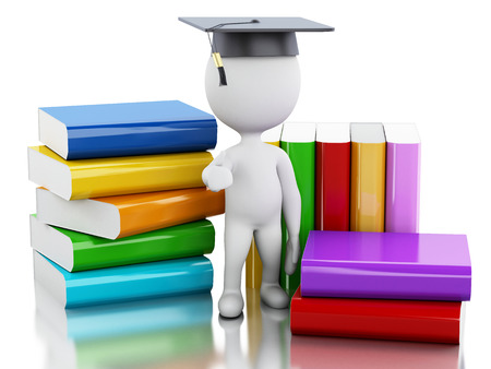 small flock: 3d illustration renderer. White people graduate with books. Education concept. Isolated white background.