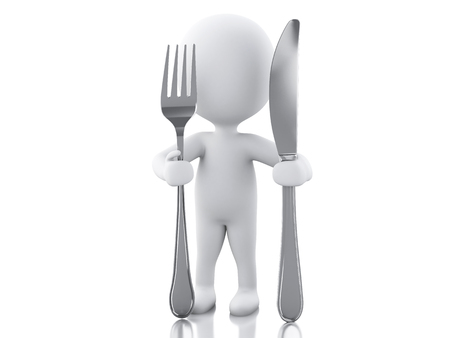 3d renderer illustration. White people Chef with fork and knife. Isolated white background Stock fotó