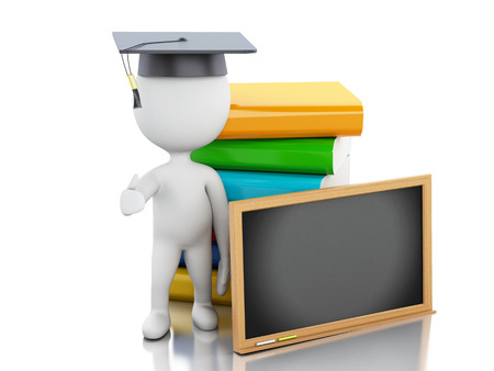 3d illustration renderer. White people graduate with books. Education concept. Isolated white background.