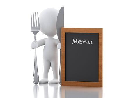 3d rendererillustratie. Witte mensenchef-kok met menuraad, vork en mes. Geïsoleerde witte achtergrond Stockfoto - 53648713
