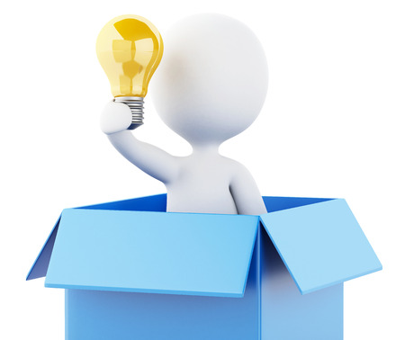 3d renderer illustration. White people with light bulb in box. Thinking out of the box concept. Isolated white background