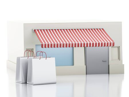 shop show window: 3d renderer illustration. Store with shopping bags. Isolated white background