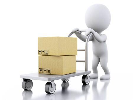 Illustration 3D. Les Blancs portant camion de main avec des boîtes en carton. fond blanc isolé. Banque d'images - 54563507