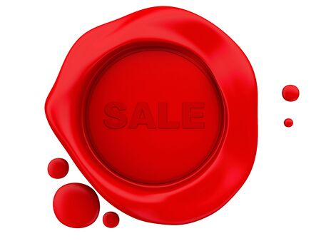 beeswaxseals: 3D Illustration. Red wax seal sale. Isolated white background.