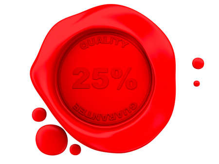 red wax seal: 3D Illustration. Red wax seal 25%. Isolated white background.