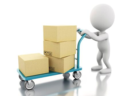 package sending: 3D Illustration. White people carrying hand truck with cardboard boxes. Isolated white background.