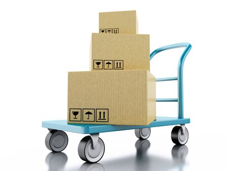 hand truck: 3D Illustration. Delivery hand truck with cardboard boxes. Isolated white background.