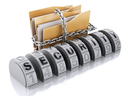 lock and chain: 3d Ilustration. Folder with lock chain and combination. Security concept. Isolated background