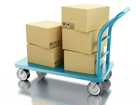 cardboard packaging: 3D Illustration. Delivery hand truck with cardboard boxes. Isolated white background.