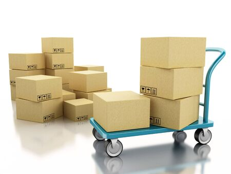 handtruck: 3D Illustration. Delivery hand truck with cardboard boxes. Isolated background.