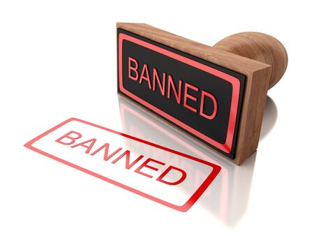 banned: 3D Illustration. Stamp banned with red text. Isolated white background.