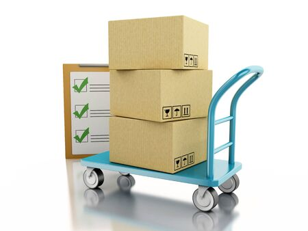 handtruck: 3D Ilustration. Delivery hand truck with cardboard boxes. Isolated white background.