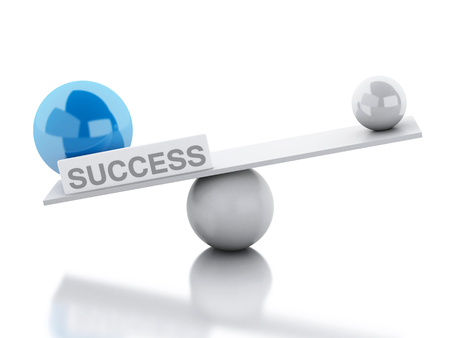affirmative: 3D Illustration. Seesaw balance success. Business concept. Isolated white background.
