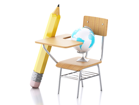 Bon School Desk, Pencil, Chair And Globe. Education Concept. Isolated