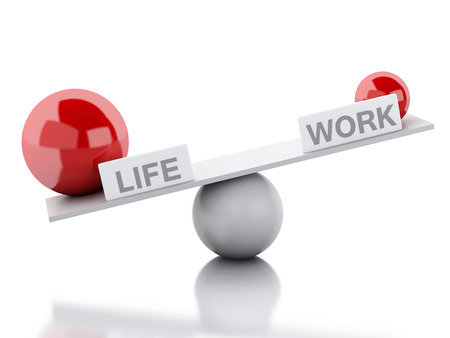 concepts imbalance 3d illustration seesaw balance between life and work business concept business concepts business life office