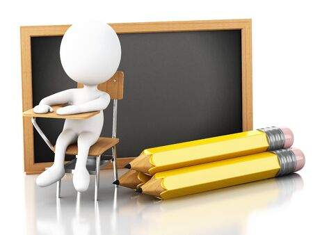 chair wooden: 3D Illustration. White people with school chair, pencil and blackboard. Education concept. Isolated white background.