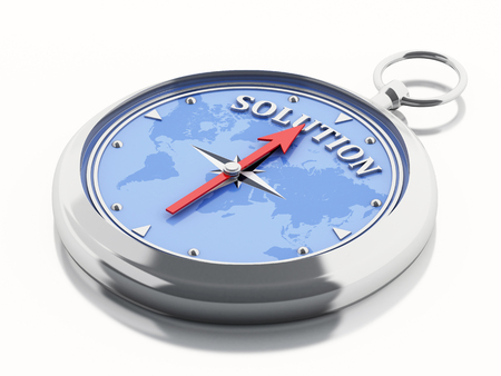 bussines: 3D Illustration. Compass pointing the word solution. Bussines concept. Isolated white background.